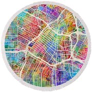 Los Angeles City Street Map Round Beach Towel