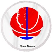 Round Beach Towel featuring the digital art Los Angeles Clippers Logo Redesign Contest by Tamir Barkan
