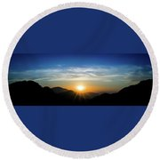 Round Beach Towel featuring the photograph Los Angeles Desert Mountain Sunset by T Brian Jones