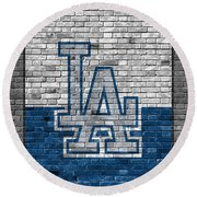 Los Angeles Dodgers Brick Wall Round Beach Towel