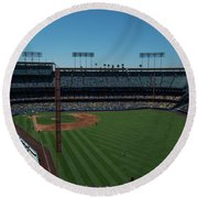 Round Beach Towel featuring the photograph Los Angeles Dodgers Dodgers Stadium Baseball 2063 by David Haskett