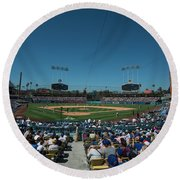 Round Beach Towel featuring the photograph Los Angeles Dodgers Dodgers Stadium Baseball 2110 by David Haskett