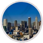 Los Angeles Skyline Round Beach Towel