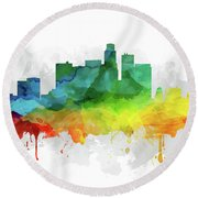 Los Angeles Skyline Mmr-uscala05 Round Beach Towel by Aged Pixel