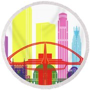 Los Angeles Skyline Pop Round Beach Towel