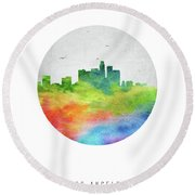 Los Angeles Skyline Uscala20 Round Beach Towel by Aged Pixel
