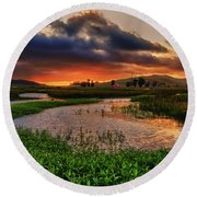 Los Osos Valley Round Beach Towel