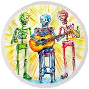 Los Tres Cantantes Round Beach Towel by Heather Calderon