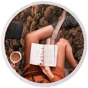 Lose Yourself In A Good Book Round Beach Towel
