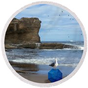 Round Beach Towel featuring the photograph Lost And Found by Diane Schuster