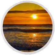 Lost Coast Sunset Round Beach Towel