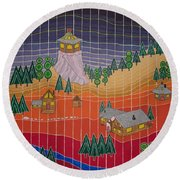 Lost Creek Lodge With Sun Temple Round Beach Towel