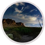 Round Beach Towel featuring the photograph Lost Dutchman by Tassanee Angiolillo