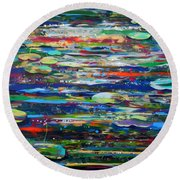 Lost Hours And Sleeping Dragons- Large Painting Round Beach Towel