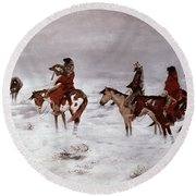 'lost In A Snow Storm - We Are Friends' Round Beach Towel