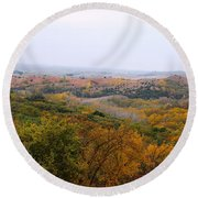 Round Beach Towel featuring the photograph Lost In Autumn by Yumi Johnson