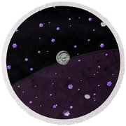 Lost In Midnight Charcoal Stars Round Beach Towel