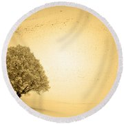 Round Beach Towel featuring the photograph Lost In Snow - Winter In Switzerland by Susanne Van Hulst