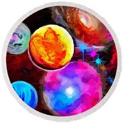 Lost In Space - Nebula 3 Round Beach Towel by Wayne Pascall