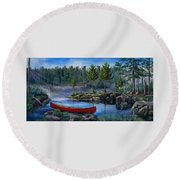Lost In The Boundary Waters Round Beach Towel