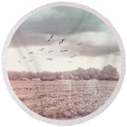 Lost In The Fields Of Time Round Beach Towel