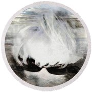 Round Beach Towel featuring the photograph Lost In Thought by Pennie  McCracken