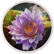 Lost Lavender Lotus Blossom 4725 Ldp_2 Round Beach Towel