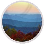 Lost On The Blueridge Round Beach Towel by B Wayne Mullins