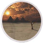 Lost Pyramids Round Beach Towel