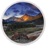 Round Beach Towel featuring the photograph Lost River Mountains Moon by Leland D Howard
