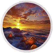 Round Beach Towel featuring the photograph Lost Titles, Forgotten Rhymes by Phil Koch