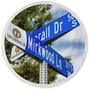Lotr Mirkwood Street Signs Round Beach Towel by Gary Whitton