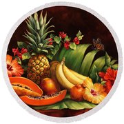 Lots Of Fruit Round Beach Towel by Laurie Hein