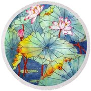 Lotus #2 Round Beach Towel