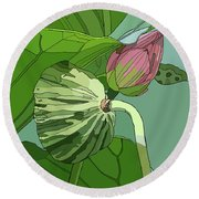 Lotus And Bud Round Beach Towel