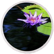 Lotus And Dark Water Refection Round Beach Towel