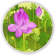 Lotus And Waterlilies Round Beach Towel