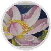 Lotus Bloom Round Beach Towel