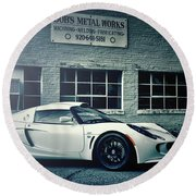 Round Beach Towel featuring the photograph Lotus Elise by Joel Witmeyer