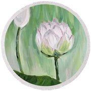 Lotus Emerging Round Beach Towel