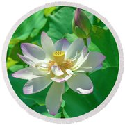 Lotus--fading I Dl0079 Round Beach Towel by Gerry Gantt