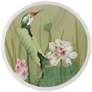 Lotus Flower And Hummingbird Round Beach Towel