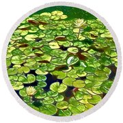 Round Beach Towel featuring the painting Lotus Flower Born In Water  by Lanjee Chee