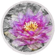 Lotus Flower Round Beach Towel