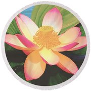 Round Beach Towel featuring the painting Lotus Flower by Sophia Schmierer