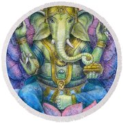 Lotus Ganesha Round Beach Towel