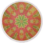 Round Beach Towel featuring the drawing Lotus Garden by Mo T