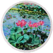 Lotus Round Beach Towel by Alexandra Maria Ethlyn Cheshire