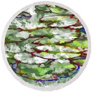 Round Beach Towel featuring the painting Lotus Leaves by Lanjee Chee