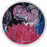 Lotus Love Round Beach Towel by Rabi Khan
